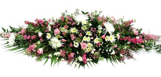 Funeral Coffin Spray Cottage Garden.