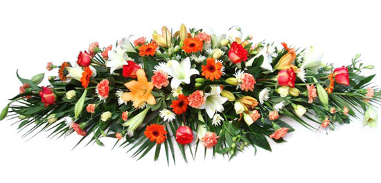 Funeral Coffin Spray Orange and White.
